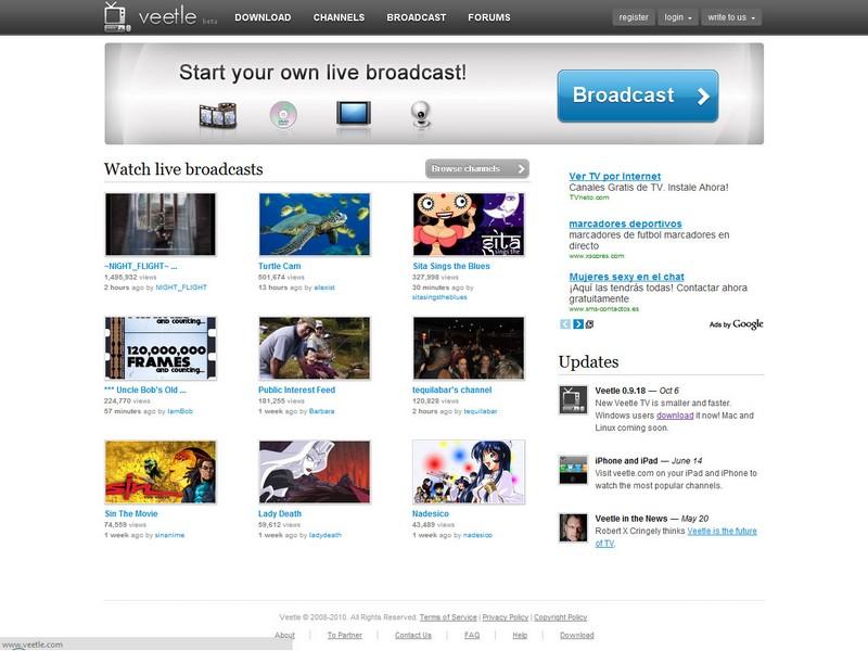Una captura de pantalla de veetle.com